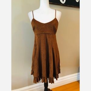 BCBGeneration faux suede brown ruffle hem dress